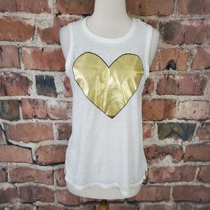Chaser Gilded Heart Tank Top M NWT